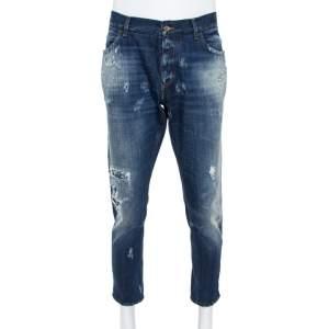Dolce & Gabbana Blue Distressed Denim Patch Detail Jeans XXXL