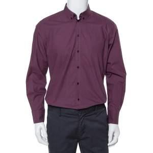 Dolce & Gabbana Gold Navy Printed Cotton Button Down Shirt XL