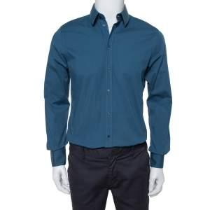 Dolce & Gabbana Gold Teal Stretch Cotton Button Front Shirt M