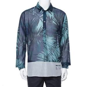 Dolce & Gabbana Blue Digital Palm Print Cotton Shirt XL