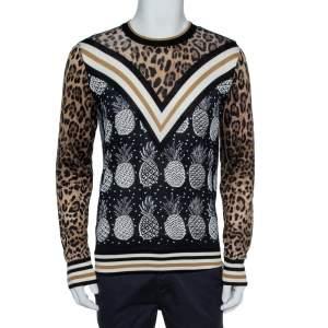 Dolce & Gabbana Black Leopard & Pineapple Print Silk Pullover M