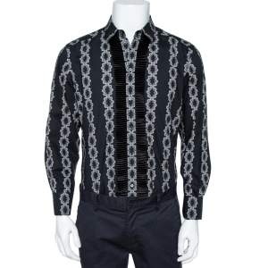 Dolce & Gabbana Black Floral Motif Cotton Silk Pleat Detail Shirt L