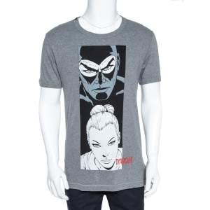 Dolce & Gabbana Grey Melange Diabolik Print T-Shirt S