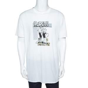 Dolce & Gabbana White Cotton Popeye & Olive Print T-Shirt 3XL