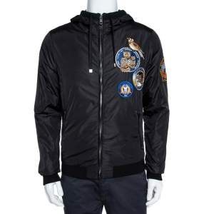 Dolce & Gabbana Black Owl patch Hoodie Bomber jacket M