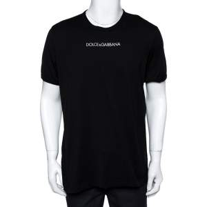 Dolce & Gabbana Black Cotton Jersey Logo Embroidered T-Shirt 4XL