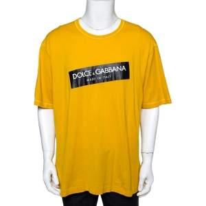 Dolce & Gabbana Yellow Logo Print Cotton Crew Neck T-Shirt 4XL