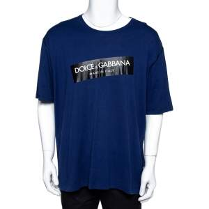 Dolce & Gabbana Blue Cotton Logo Print Crew Neck T-Shirt 5XL