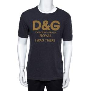 Dolce & Gabbana Grey Cotton Royal Print T-Shirt M