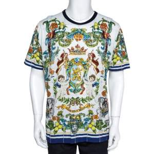 Dolce & Gabbana White Cotton Sicilian Print T-Shirt 3XL