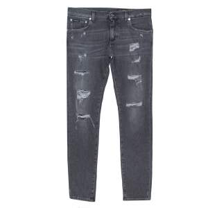 Dolce & Gabbana Grey Distressed Denim Skinny Jeans M