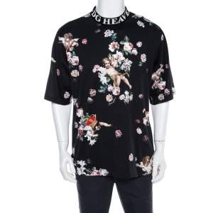 Dolce & Gabbana Black Heaven Flower Print Cotton Mock Neck T-Shirt M