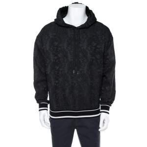 Dolce & Gabbana Black Jacquard Logo Detail Hoodie XS