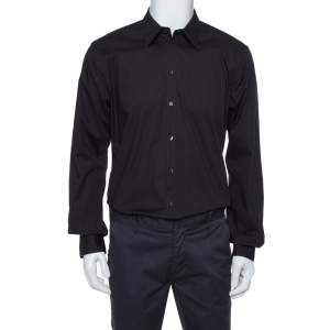 Dolce & Gabbana Black Cotton Stretch Long Sleeve Shirt XXL