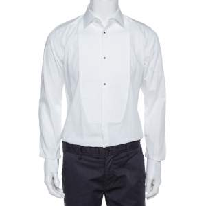 Dolce & Gabbana White Cotton Tuxedo Long Sleeve Gold Shirt XS