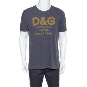 Dolce & Gabbana Grey Cotton Royal Print T Shirt L