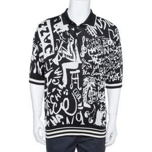 Dolce & Gabbana Monochrome Silk Jazz Print Intarsia Knit Polo T Shirt XXL