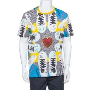 Dolce & Gabbana Multicolor Cotton Sacred heart Sneaker Print Roundneck T-Shirt 3XL