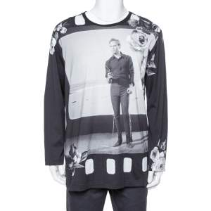 Dolce & Gabbana Black Marlon Brando Printed Cotton Long Sleeve T Shirt XXL