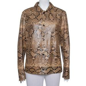 Dolce & Gabbana Brown Leather Button Front Jacket XL