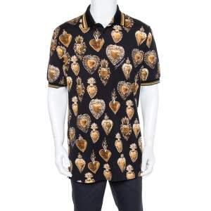 Dolce & Gabbana Black Pique Knit Scared Hearts Print Polo T-shirt XL