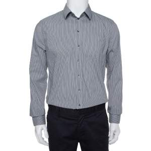 Dolce & Gabbana Grey Striped Cotton Button Front Sicilia Shirt XL