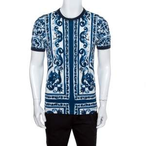 Dolce & Gabbana Blue Majolica Printed Cotton Crewneck T-Shirt L