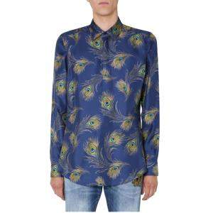 Dolce & Gabbana Silk Martini-fit Feather print Shirt Size EU 39