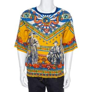 Dolce & Gabbana Multicolor Abstract Printed Linen Fray Detail Oversized T-Shirt XS