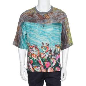Dolce & Gabbana Multicolor Printed Linen Half Button Oversized T-Shirt XS