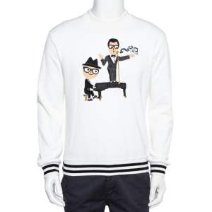 Dolce & Gabbana White Knit Stefano & Domenico Piano Player Applique Sweatshirt S