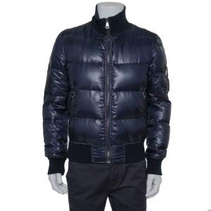 Dolce & Gabbana Navy Blue Synthetic Puffer Jacket M