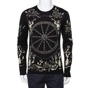 Dolce & Gabbana Black Velour Long Sleeve T-Shirt XS