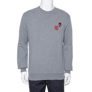 Dolce & Gabbana Grey Cotton Devil Designers Patch Detail Crewneck Sweatshirt L