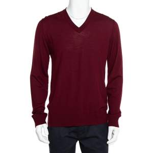 Dolce & Gabbana Burgundy Wool V-Neck Long Sleeve Pullover XL