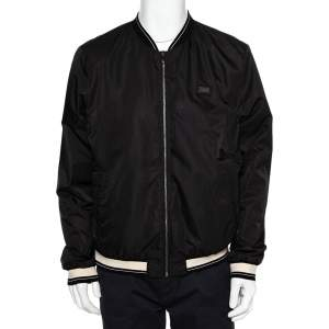 Dolce & Gabbana Black Synthetic Contrast Trim Detail Bomber Jacket XXL