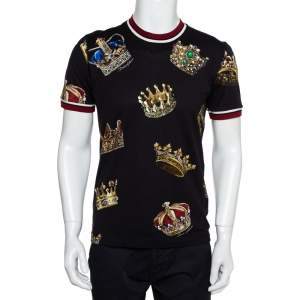 Dolce & Gabbana Black Knit Crown Print Crewneck T-Shirt M