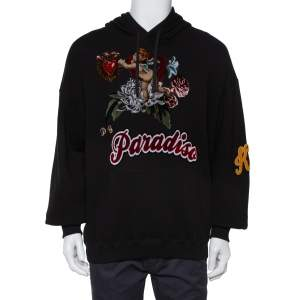 Dolce & Gabbana Black Cotton Paradise Embroidered Hoodie M