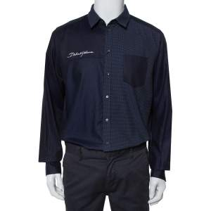 Dolce & Gabbana Navy Blue Cotton Paneled Button Front Shirt XXL