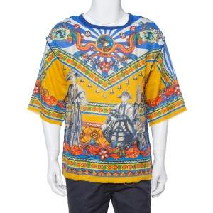Dolce & Gabbana Multicolor Abstract Printed Linen Fray Detail Oversized T-Shirt M