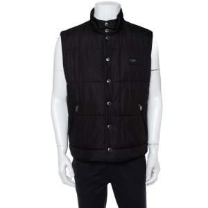 Dolce & Gabbana Black Synthetic Button Front Sleeveless Puffer Vest XXL