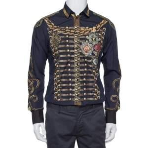 Dolce & Gabbana Navy Blue Printed Cotton Button Front Gold Shirt M