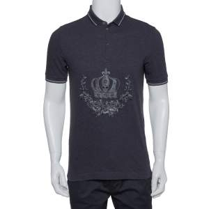 Dolce & Gabbana Grey Cotton Pique Embroidered Crown Polo T-Shirt M