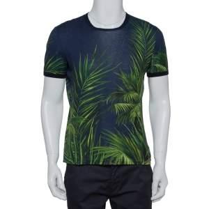 Dolce & Gabbana Navy Blue Jungle Printed Crewneck T-Shirt S