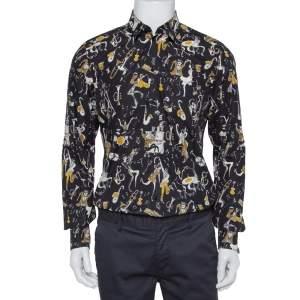 Dolce & Gabbana Gold Black Jazz Club Print Cotton Shirt M