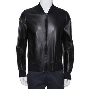 Dolce & Gabbana Black Leather Zipper Front Jacket L