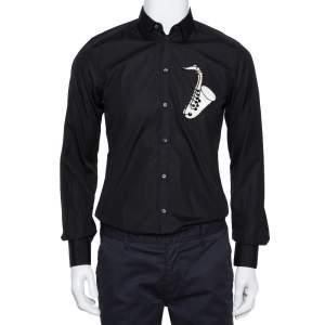 Dolce & Gabbana Black Cotton Sequin Embellished Jazz Gold Shirt M