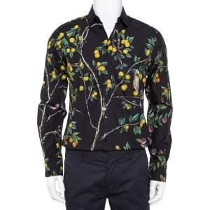 Dolce & Gabbana Midnight Blue Lemon Printed Cotton Button Front Gold Shirt M