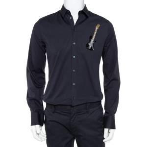 Dolce & Gabbana Navy Blue Cotton Sequin Embellished Guitar Applique Sicilia Shirt L