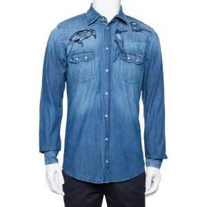Dolce & Gabbana Navy Blue Faded Denim Bird Patch Applique Detail Shirt L